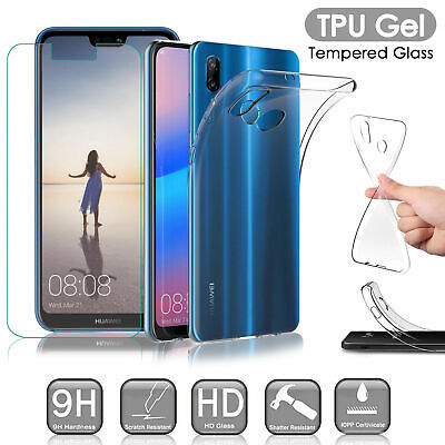 Clear TPU Gel Case Cover + Tempered Glass Screen Protector For Huawei Phones