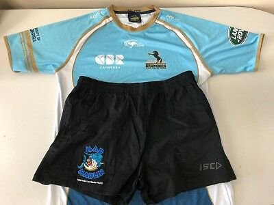 2XL Brumbies training shirt (GPS pouch) + North Coast Marlins rugby union shorts