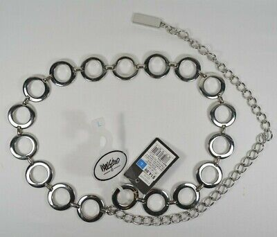 Mossimo Large Metal Circle Chain Belt Silver Tone with Tags