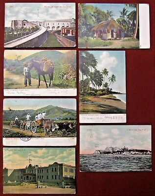 Lot of Seven (7) 1901-1915 PUERTO RICO Views Postcards by A. C. Bosselman