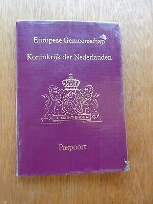 Passport Netherlands issued Rotterdam 1992 no visas, clear plastic cover added.