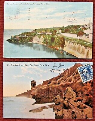 Lot of 2 (Two) 1908-1910 PUERTO RICO Views Postcards by Gillies & Woodward