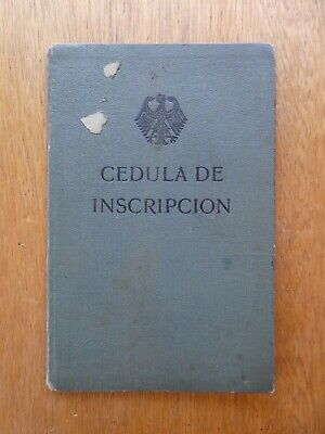 Passport Germany 1932 Consular Registration Certificate issued Madrid no photo