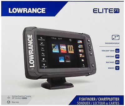 New Lowrance Elite-7 Ti GPS Fish Finder with Mid/High/DownScan (000-12417-001)