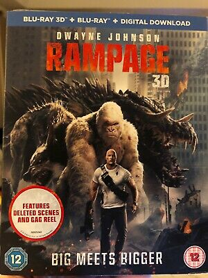 RAMPAGE (2018) Dwayne Johnson 3D + 2D Blu-Ray NEW With slipcover! Please Read