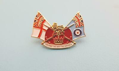 Combined British Armed Forces pin badge Army Navy RAF Falklands Ulster Gulf