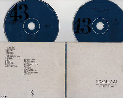 PEARL JAM LIVE Official Bootleg #43 Boston MA 8/29/00 Mansfield