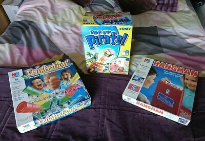 Bundle Of 3 Board Games (MB & TOMY) Frustration + Hangman + Pop-Up-Pirate