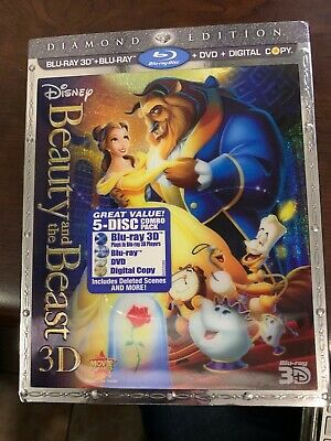 Beauty And The Beast 3D Blu-ray/ Blu-Ray /DVD Disney Diamond Edition, 5Disc Set)