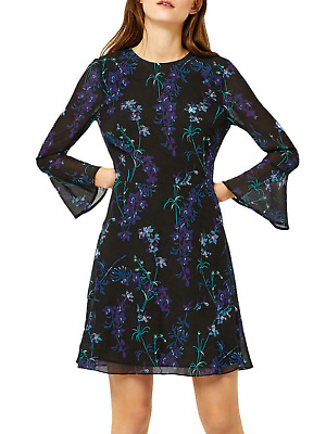 Warehouse Size 12 Black Floral Print Gilly Chiffon DRESS Party Flattering £49