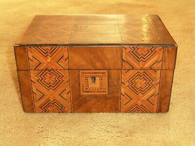 Lovely Antique Victorian Wooden Tunbridge Ware Marquetry Inlaid Jewellery Box
