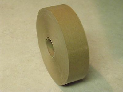 "12 ROLLS - 1.5"" x 500 Feet Each -  Water Activated NATURAL TAN KRAFT PAPER TAPE"