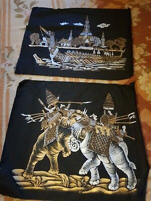 Vintage Pair Of Asian ,oriental Gold Silver paintings On Black Cotton