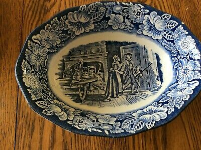 """Vintage Staffordshire Liberty Blue China 9"""" Oval Serving Bowl (  MINUTE MEN  )"""