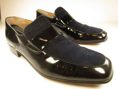 a1ead5cc0b1 Footjoy Mens Loafers Black Patent Leather Suede Size 10.5D MADE IN ITALY  79657