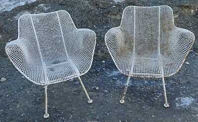 Astonishing Pair Woodard Sculptura Mcm Garden Lounge Chairs Wire Mesh Squirreltailoven Fun Painted Chair Ideas Images Squirreltailovenorg