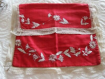 antique hand embroidery beaded stocking case bag
