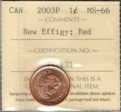 2003P NEW EFFIGY Small Cent ICCS Graded MS-66 RED GEM+ ** STUNNING Canada Penny