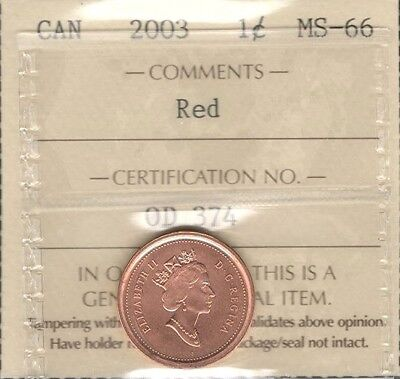 2003 OLD EFFIGY Small Cent ICCS Graded MS-66 RED GEM+ ** STUNNING Canada Penny