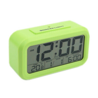 5 Colour Alarm Clock LCD LED Snooze Backlight Digital Desk Time Thermometer Date