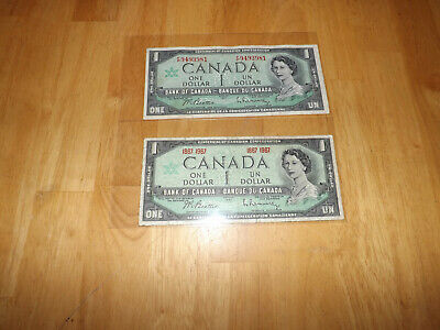 Bank Of Canada 1967$1.00 Notes With And Without Serial Number