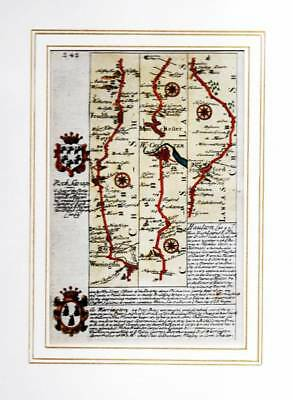 1731 Warrington to W Chester Original Antique Hand Coloured Road Map OWEN BOWEN