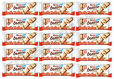 15 x Kinder BUENO WHITE Chocolate Covered Cream Filled Wafers 39g 1.4oz