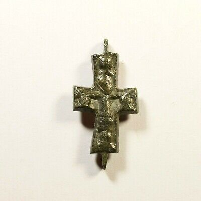 Ancient Byzantine Bronze Cross - Encolpion - Wearable Religious Artifact