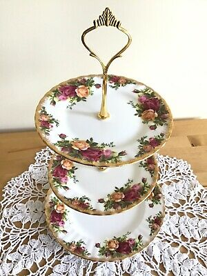Vintage 3 Tier Royal Albert 'Old Country Rose' Cake Stand.