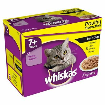 Whiskas-Wet Cat Food-Poultry-Fish-Meat-In Gravy-100%Complete&Balanced Food 1+ 7+
