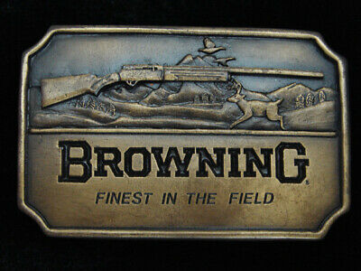 QJ01160 *NOS* VINTAGE 1970s *BROWNING FINEST IN THE FIELD* GUN & HUNTING BUCKLE