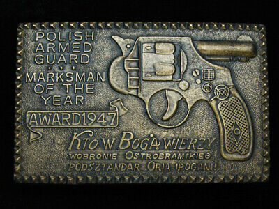 PL03115 VINTAGE 1970s **POLISH ARMED GUARD MARKSMAN OF THE YEAR** BELT BUCKLE