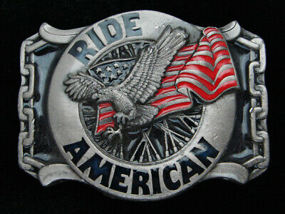 QJ01117 VINTAGE 1980s **RIDE AMERICAN** MOTORCYCLE PEWTER BELT BUCKLE