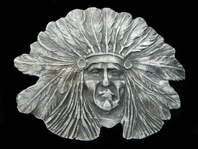 RJ13163 VINTAGE 1970s CUT-OUT **CHIEF SITTING BULL** BRASSTONE BELT BUCKLE