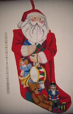 Vintage Needlepoint Christmas Stockings.Vintage Needlepoint Christmas Stockings Santa Toys Nutcracker Complete 2 Avail