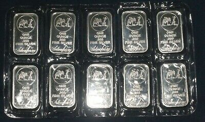 Lot Of Ten (10) Silvertowne 1 Troy Oz Bars 0.999 Fine Silver (10 Tot Oz)  P40