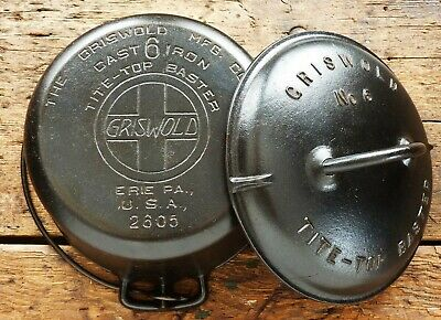 RARE Antique GRISWOLD Cast Iron DUTCH OVEN # 6 LARGE SLANT LOGO - Ironspoon