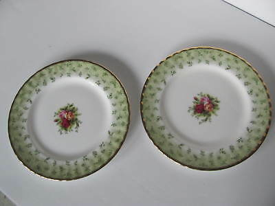 Royal Albert Old Country Roses Green Border Luncheon / Salad Plates - Set Of 2