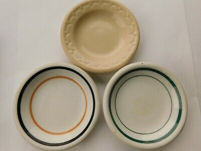 """Lot of 3 Different Antique Round Butter Pats Solid Beige and Striped Colors 3"""""""