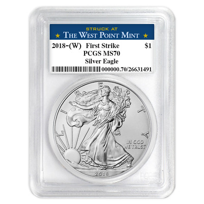 2018 W 1 oz Silver American Eagle $1 Coin PCGS MS 70 Westpoint In Stock FS
