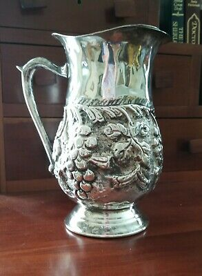 Unique antique hand chased silverplate pitcher with grape motif