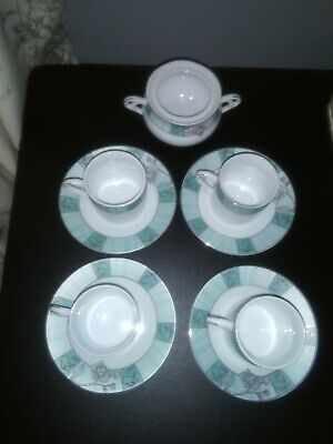 Vintage Bone China Demitasse Coffee Cups And Saucers X 4 And Sugar Bowl....