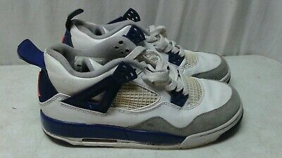229dc6f8beed2e Nike Air Jordan Retro 4 Youth Size 5Y White Grey Blue 487724-132 shoes