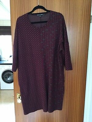 gudrun sjoden Burgundy Patterned Cotton Knitted Dress XL