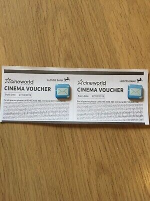 2 Cineworld cinema movie tickets expiry date 27/03/2019 By Email Or Post