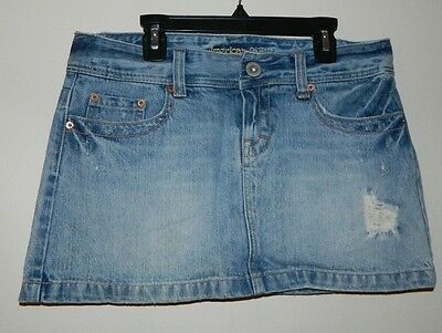 1a22a33e57 Women American Eagle Outfitters Dark Blue Ripped Jeans Mini Casual Skirt  Size 6