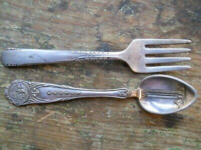 Vintage Silverware Plated Collector Spoon & Oneida Baby Fork With Box