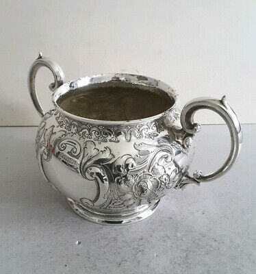 PRETTY,  EMBOSSED, VICTORIAN ANTIQUE SILVER  PLATED SUGAR BOWL.         c. 1880.