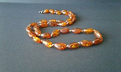 """Vintage Baltic amber long necklace sterling silver honey color 23"""" natural real"""
