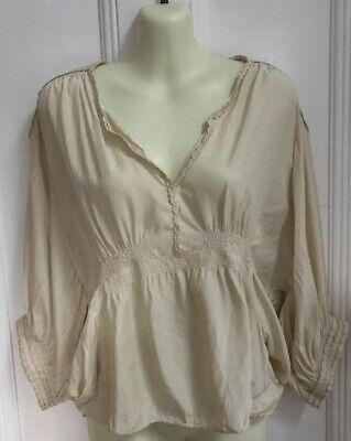 c56f9d52fe124 Isabel Marant Etoile Ivory Silk Blouse Top Embroidery Shoulders Size 2 AU 10